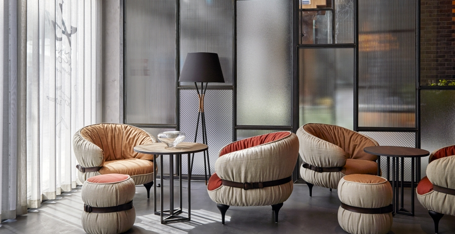 CHUBBY CHIC ARMCHAIR AND POUF BY DIESEL CREATIVE TEAM - PURO HOTEL GDANSK, POLAND, 2015  INTERIORS: DESALLES FLINT PHOTO CREDIT: ANNA STATHAKI‏