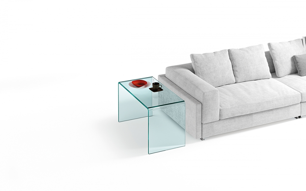 RIALTO SIDE TABLE IN CURVED GLASS BY CRS FIAM