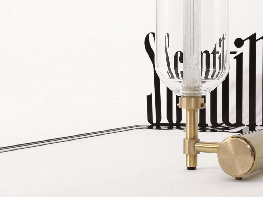 Borosilicate glass lighting system with metal base SCINTILLA - designer PIETRO RUSSO