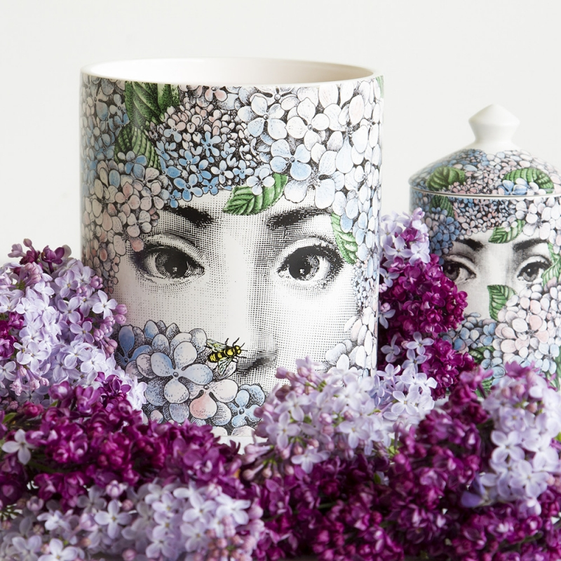 SCENTED CANDLES ORTENSIA. THIS CANDLE HAS THE FLORA FRAGRANCE WITH NOTES OF LILY OF THE VALLEY, JASMINE, TUBEROSE AND SANDALWOOD, WHICH IS AVAILABLE IN A RANGE OF DIFFERENT DESIGNS FROM FORNASETTI