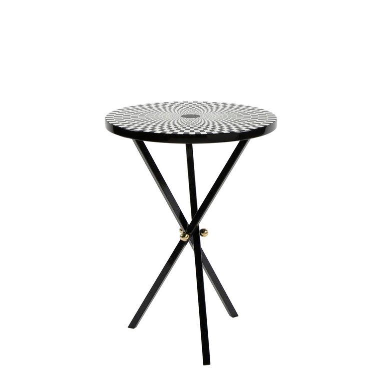 FORNASETTI TABLE TOP Ø36 EGOCENTRISMO BLACK/WHITE