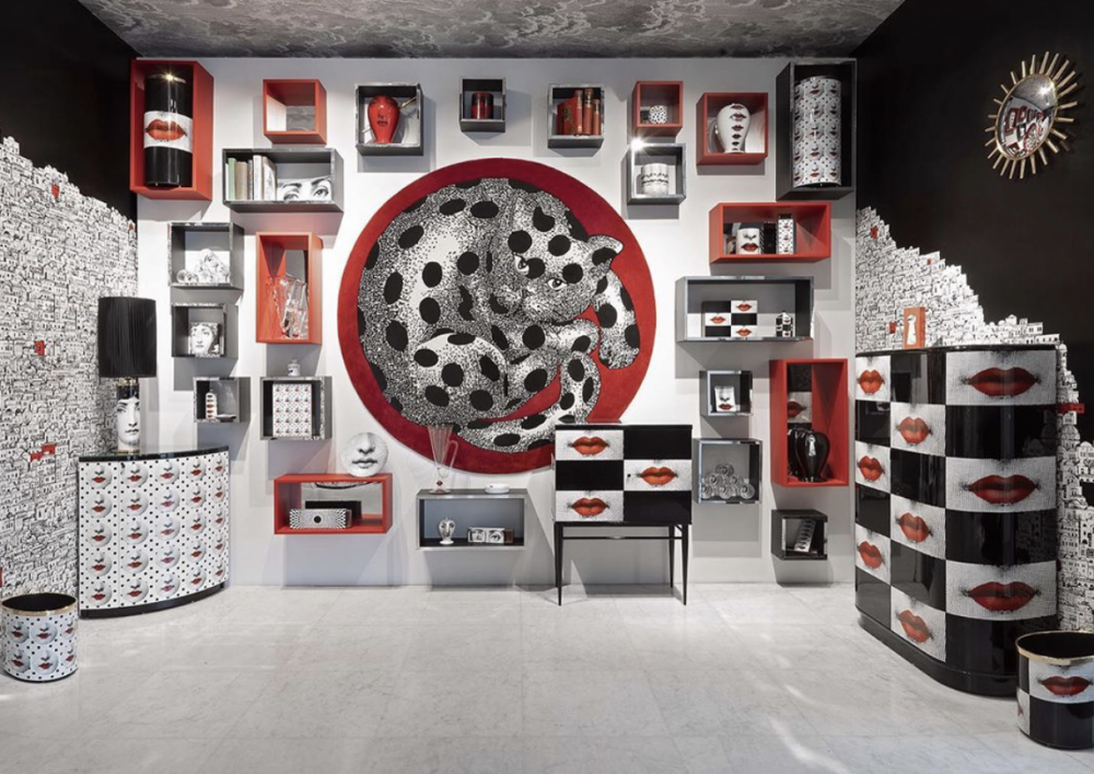 FORNASETTI BEGINS 2020 WITH NEW POP-INSPIRED CREATIONS.THE RED LIPS FEATURED IN THE DECORATIONS ADD A TOUCH OF IRREVERENT IRONY TO FORNASETTI' S  HYPNOTIC GEOMETRY.
