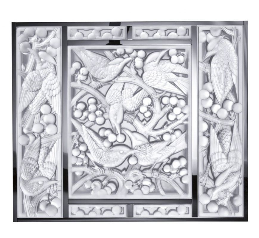 MERLES ET RAISINS HEAD UP DECORATIVE PANEL CLEAR CRYSTAL, CHROME, MIRRORED