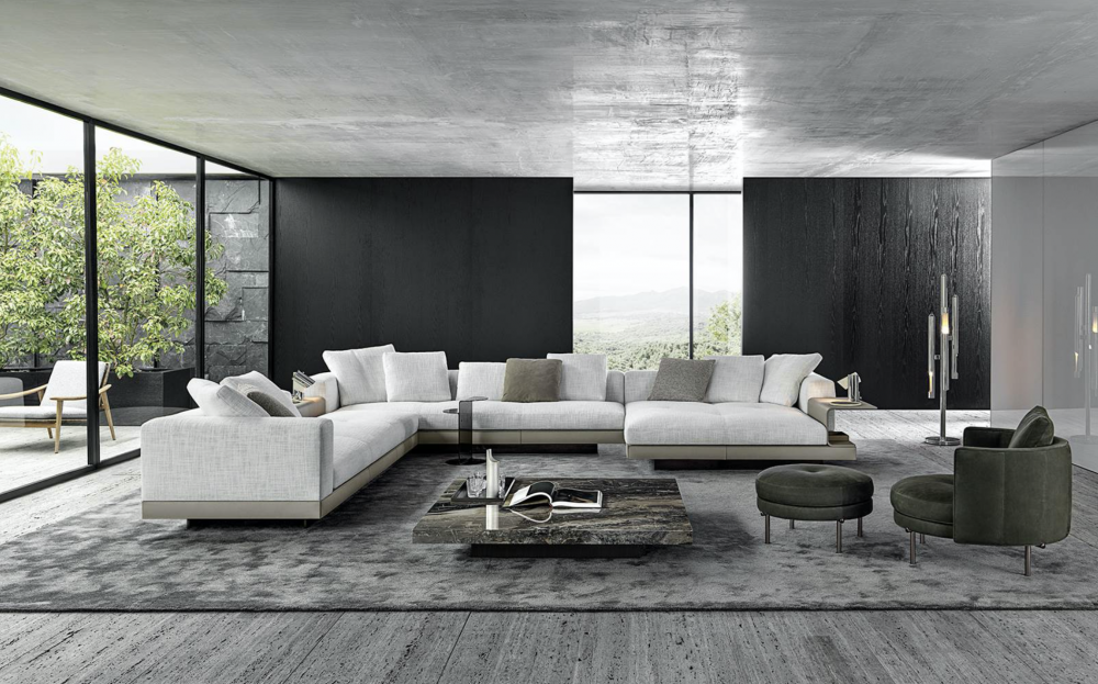 CONNERY seating system by RODOLFO DORDONI, designed in 2020. Contemporary, with a strong architectural appeal and pure lines reminiscent of the mid-century American spirit, the CONNERY seating system sports an exquisite aesthetic and design that instantly catch the eye