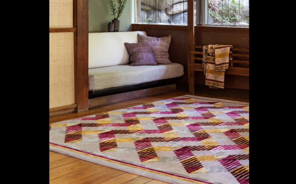SLATS INCREDIBLE I RUG OF 52% WOOL AND 48% DULL SILK BY EDWARD FIELDS