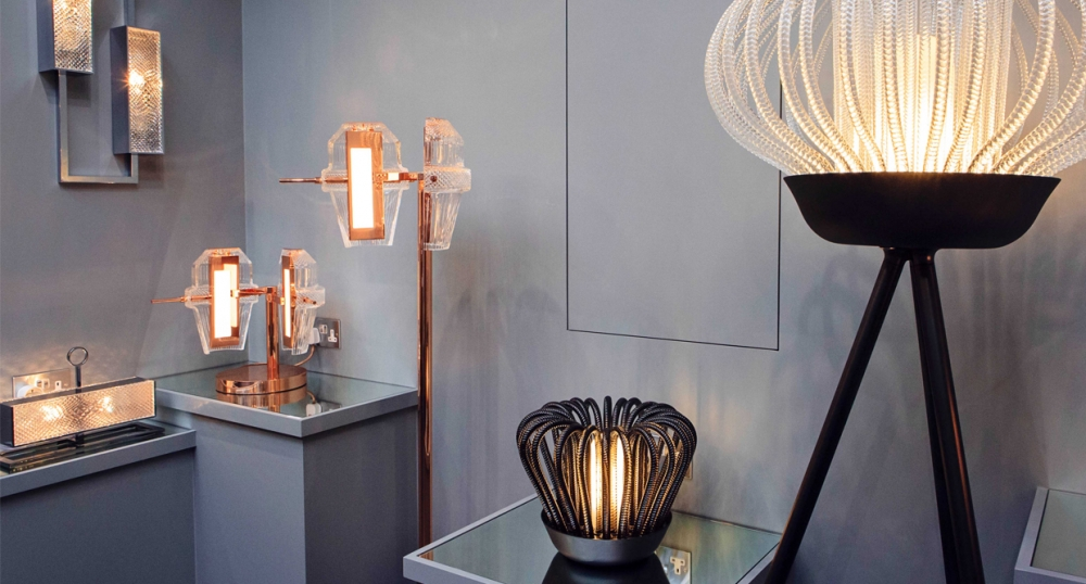 Table and standing crystal lamps MATRICE - designer KIKI VAN EIJK;  table and standing lamps SAULE - designer IONNA VAUTRIN