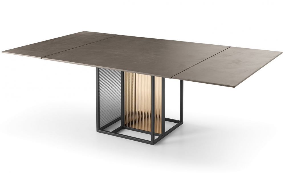 THEO GLASS TABLE WITH METAL BASE BY SIMONE BONANNI