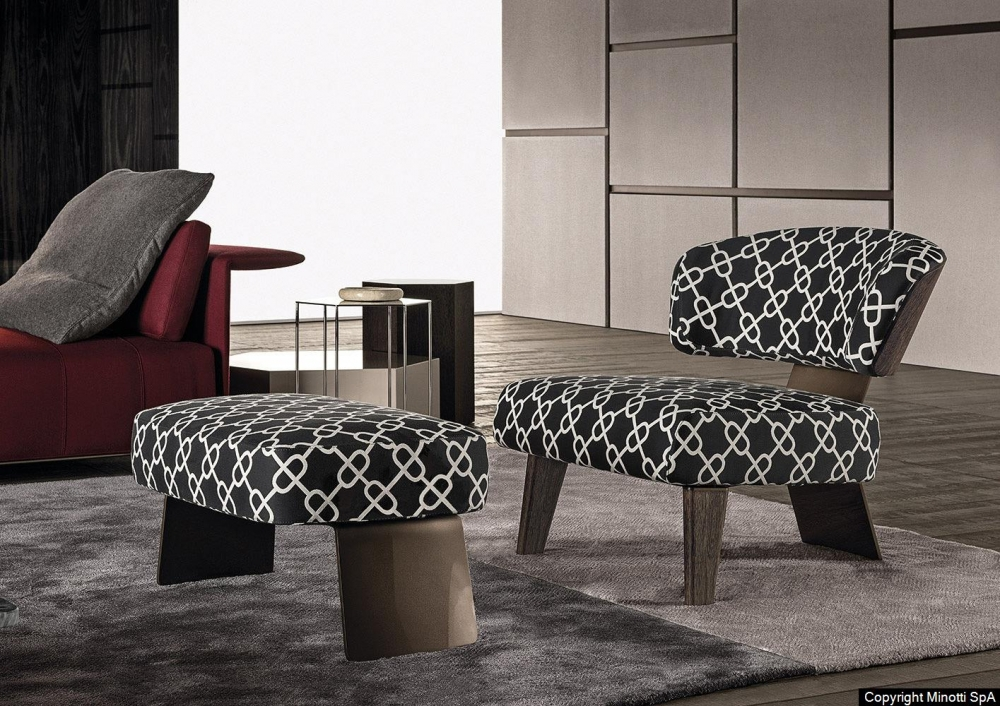 CREED WOOD ARMCHAIR and FOOTSTOOL by RODOLFO DORDONI