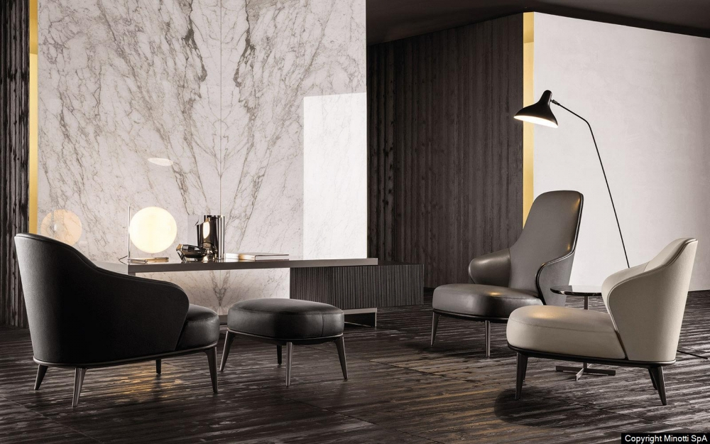 LESLIE ARMCHAIRS and OTTOMAN by RODOLFO DORDONI