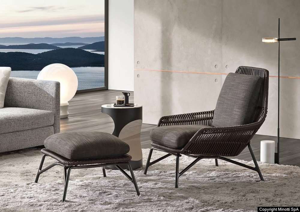 PRINCE CORD INDOOR ARMCHAIR and FOOTSTOOL by RODOLFO DORDONI