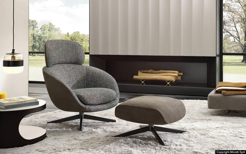 RUSSELL SWIVEL BERGERE and CROSS BASE FOOTSTOOL by RODOLFO DORDONI